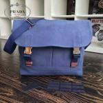 Prada-VA0887-2 原單藍色洗水布時尚潮流男士斜挎包