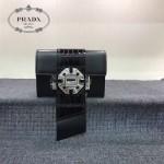 PRADA 1BD067 高貴奢華純手工鉆扣原版黑色小牛皮拼鱷魚紋單肩斜挎包