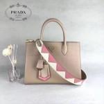 PRADA 1BA102 專櫃最新設計杏色拼色原版十字紋手提單肩包風琴包