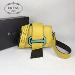 PRADA 1BD067-3 楊冪同款黃色原版牛皮配樹脂扣單肩斜挎包
