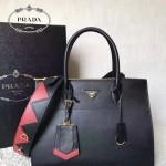 PRADA 1BA102-3 專櫃最新設計黑色拼色原版十字紋手提單肩包風琴包