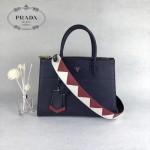 PRADA 1BA102-2 專櫃最新設計藍色拼色原版十字紋手提單肩包風琴包