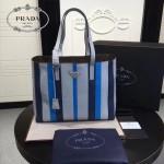 prada-1BG032-2 新款意大利進口小牛皮條紋拼色雙皮革手柄購物包