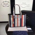 prada-1BG032 新款意大利進口小牛皮條紋拼色雙皮革手柄購物包