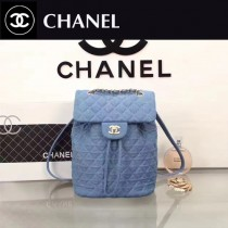 CHANEL 91121-2 歐美個性Backpack進口藍色牛仔布束口雙肩包