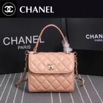 CHANEL 9907-3 時尚優雅女士杏色進口小羊皮手提單肩包