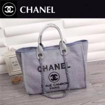 CHANEL 66943-4 夏季經典款繡珠片進口灰藍色帆布配皮購物袋沙灘包