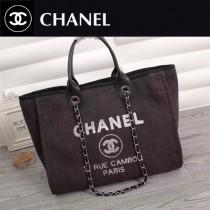 CHANEL 66943-3 夏季經典款繡珠片進口黑色帆布配皮購物袋沙灘包