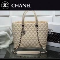 CHANEL 0560-2 專櫃新款白色進口羊皮菱格紋手提單肩包購物袋