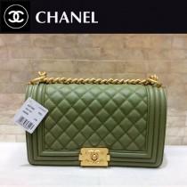 CHANEL-67086-38 古巴系列之抹茶綠經典款新顏色永恆之作金鏈進口球紋牛皮單肩斜挎包