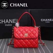 CHANEL 9907-2 時尚優雅女士紅色進口小羊皮手提單肩包