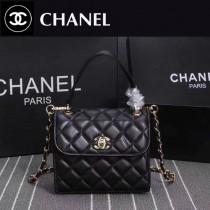 CHANEL 9907 時尚優雅女士黑色進口小羊皮手提單肩包
