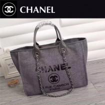 CHANEL 66943-2 夏季經典款繡珠片進口灰色帆布配皮購物袋沙灘包