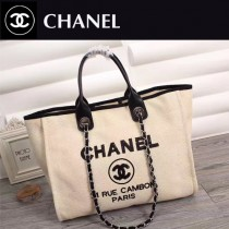 CHANEL 66943 夏季經典款繡珠片進口杏色帆布配皮購物袋沙灘包