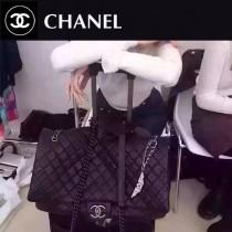 CHANEL 0559-2 網紅雪梨同款CF黑色進口胎牛皮超大號機場包旅行袋