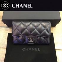 CHANEL-80799-3 黑色銀chanel黑色原版球紋牛皮羊皮卡包