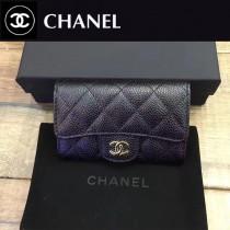 CHANEL-80799 黑色銀chanel黑色原版球紋牛皮羊皮卡包
