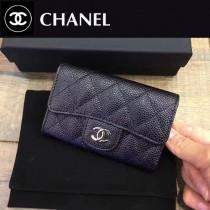 CHANEL-80799-2 黑色銀chanel黑色原版球紋牛皮羊皮卡包