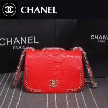 CHANEL 8105 專櫃走秀款紅色進口蟒蛇紋牛皮單肩斜跨包
