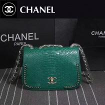 CHANEL 8105-3 專櫃走秀款墨綠色進口蟒蛇紋牛皮單肩斜跨包