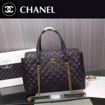 CHANEL 5090 時尚實用款黑色進口球紋磨砂皮手提單肩包購物袋