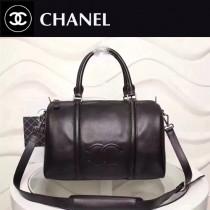 CHANEL 6095-2 簡約最新款雙C logo黑色進口小牛皮小號旅行袋