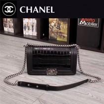 CHANEL 6030-3 專櫃最新設計LEBOY黑色進口鱷魚紋牛皮單肩斜跨包