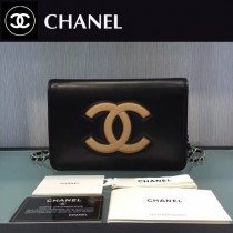 CHANEL-004 新款WOC細膩柔軟羊皮配色雙C正面logo鏈條原單裡布小包
