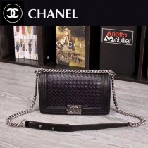 CHANEL 6030 專櫃最新設計LEBOY黑色進口牛皮編織款單肩斜跨包