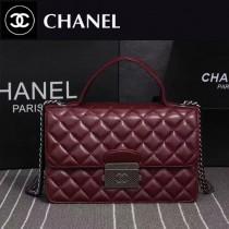 CHANEL 6805 優雅女士新款紅色進口羊皮手提單肩包