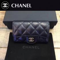 CHANEL-80799-4 黑色銀chanel黑色原版球紋牛皮羊皮卡包
