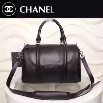 CHANEL 6095 簡約最新款雙C logo黑色進口小牛皮大號旅行袋