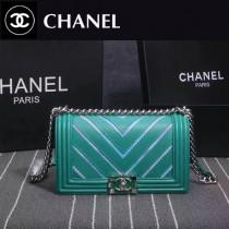 CHANEL 8919 個性新款leboy V型湖水綠進口皮拼刺繡七彩珠光單肩斜跨包