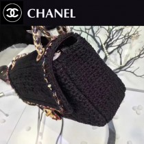 CHANEL-007-2 最新款編織限量版鉤花編織CF中號翻蓋單肩斜挎包