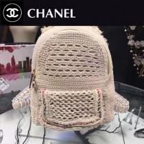 CHANEL-008 頂部手柄編織布包身拉鏈頭帶有金屬標誌布襯里拉鏈口袋編織雙肩包
