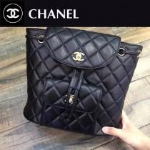 CHAENL-49588 黑色金扣內外全皮小羊皮時尚潮流雙肩包