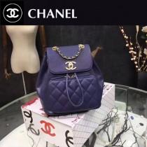 CHANEL-017-4 最新款手感柔軟女士寶藍色兩用款手提雙肩包