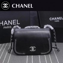 CHANEL 8103 巴黎專櫃新品turbo黑色進口皮單肩斜跨包