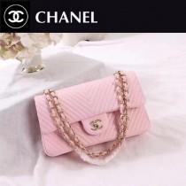 CHANEL 0562-5 人氣經典款CF V字型粉色進口鹿紋皮金扣單肩斜跨包