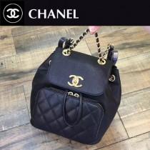 CHANEL-017 最新款手感柔軟女士黑色兩用款手提雙肩包