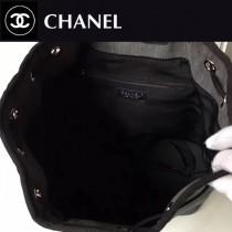 CHANEL-014 早春款珠片帆布配牛皮雙肩包手提水桶包