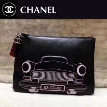 CHANEL-009 春季新款女包羊皮黑色汽車打印女士手拿包