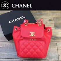 CHANEL-017-2 最新款手感柔軟女士紅色兩用款手提雙肩包