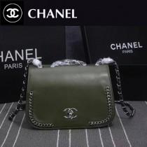 CHANEL 8103-3 巴黎專櫃新品turbo墨綠色進口皮單肩斜跨包