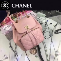CHANEL-017-3 最新款手感柔軟女士粉色兩用款手提雙肩包