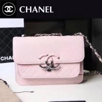 CHANEL 606 專櫃最新菱格縫線粉色小牛皮單肩斜跨包