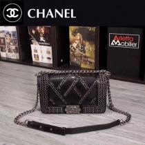 CHANEL 1031 歐美搖滾風LEBOY鏈條裝飾黑色蟒蛇紋單肩斜跨包