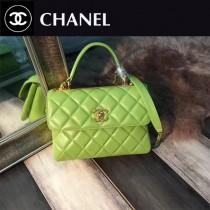 CHANEL-92236-4 最新色橄欖綠進口小羊皮內裡三個隔層三用包手提肩背斜挎包