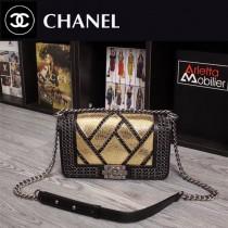 CHANEL 1031-2 歐美搖滾風LEBOY鏈條裝飾土豪金蟒蛇紋單肩斜跨包