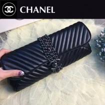 CHANEL 0566-2 名媛必備新款V型車線黑色牛皮鏈條裝飾手拿包晚宴包